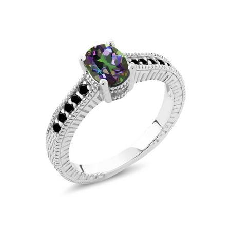 Green Diamond Engagement Ring (1.28 Ct Oval Green Mystic Topaz Black Diamond 925 Silver Engagement)