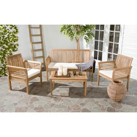 safavieh carson acacia wood 4 piece outdoor furniture set walmart