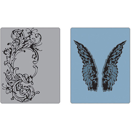Sizzix Texture Fades A2 Embossing Folders 2/Pkg-Flourish & Wings By Tim Holtz