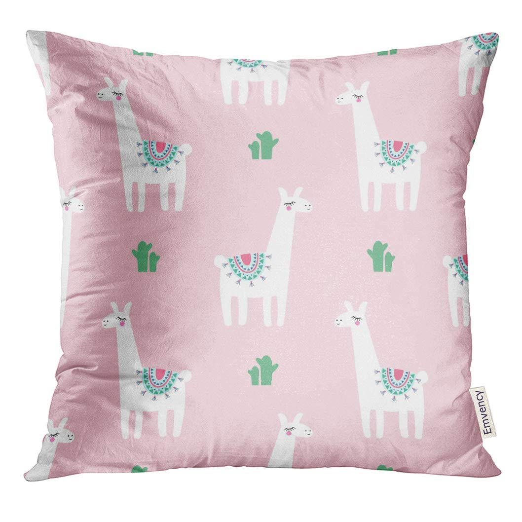 ARHOME Alpaca Cute Lama with Cacti on Pink Baby Animal Child Drawing Style Design and Kids Pillow Case 20x20 Inches Pillowcase