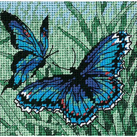 (Needlepoint Mini Kit ~ Dimensions Colorful Butterfly Duo in Blue Portrait #7183)
