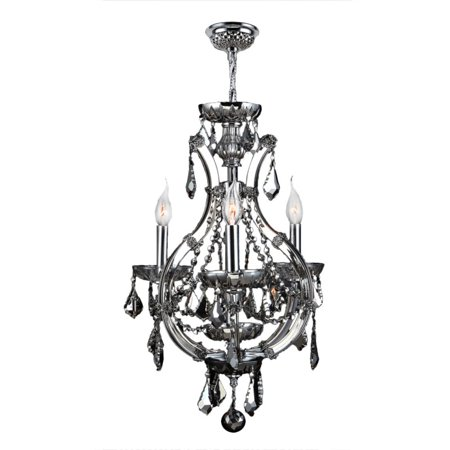 Lyre Collection 4 Light Chrome Finish and Chrome Crystal Chandelier 16