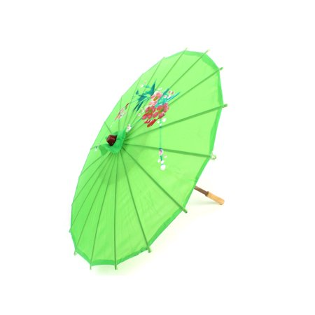 - Unique Bargains Flower Printed Bamboo Frame Green Chinese Style Oriental Umbrella Parasol 20.1