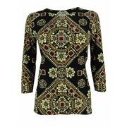 JM Collection Women's Jewel Print 3/4 Sleeve Tunic Top