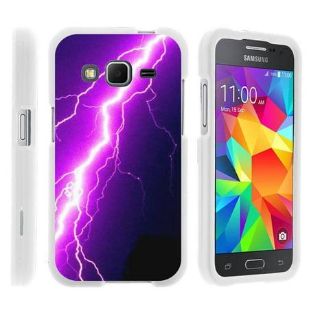 Purple Lightning Bolt (Samsung Galaxy Grand Prime G530, [SNAP SHELL][White] Hard White Plastic Case with Non Slip Matte Coating with Custom Designs - Purple Lightning)