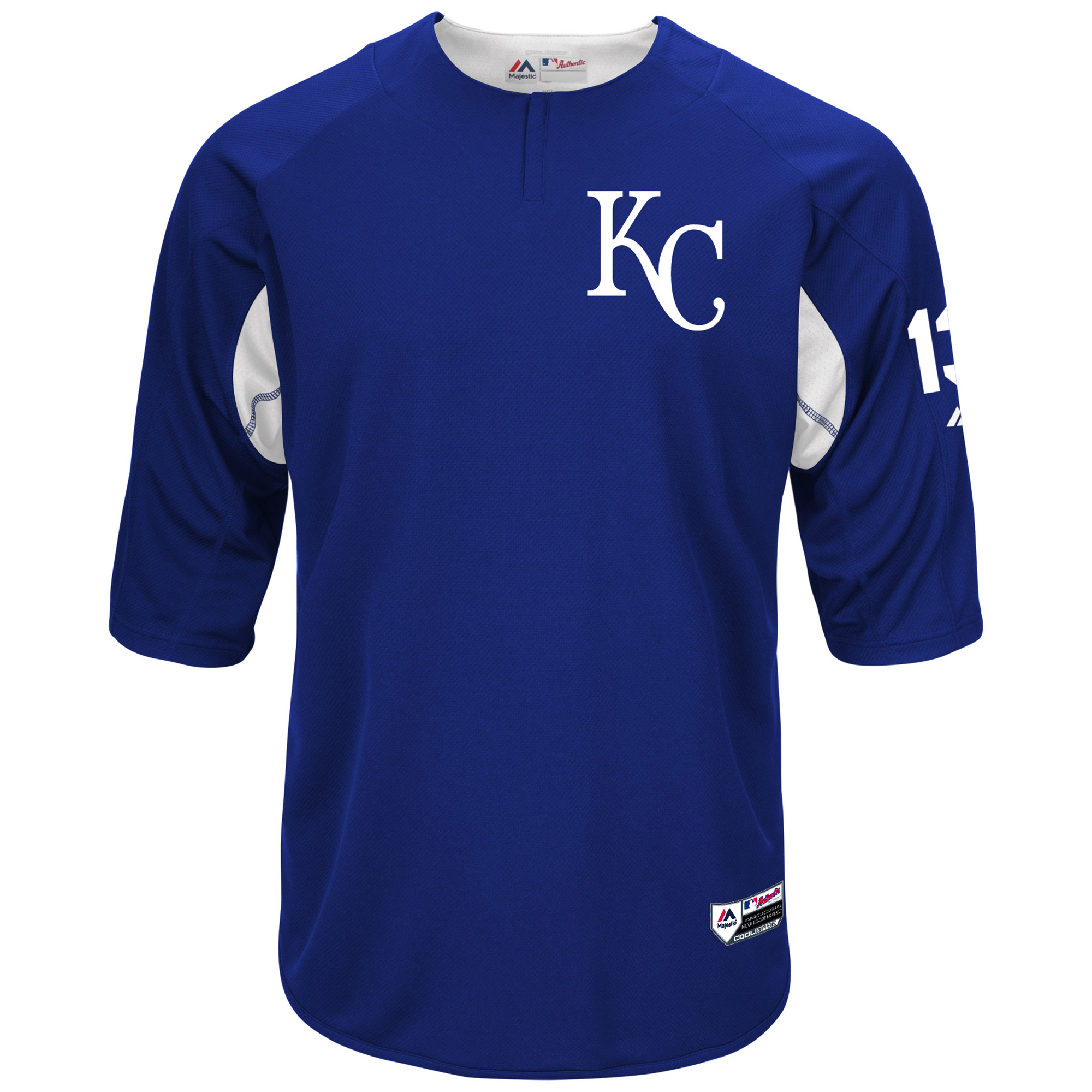 Salvador Perez Kansas City Royals Majestic Authentic Collection On-Field 3/4-Sleeve Player Batting Practice Jersey - Royal/White