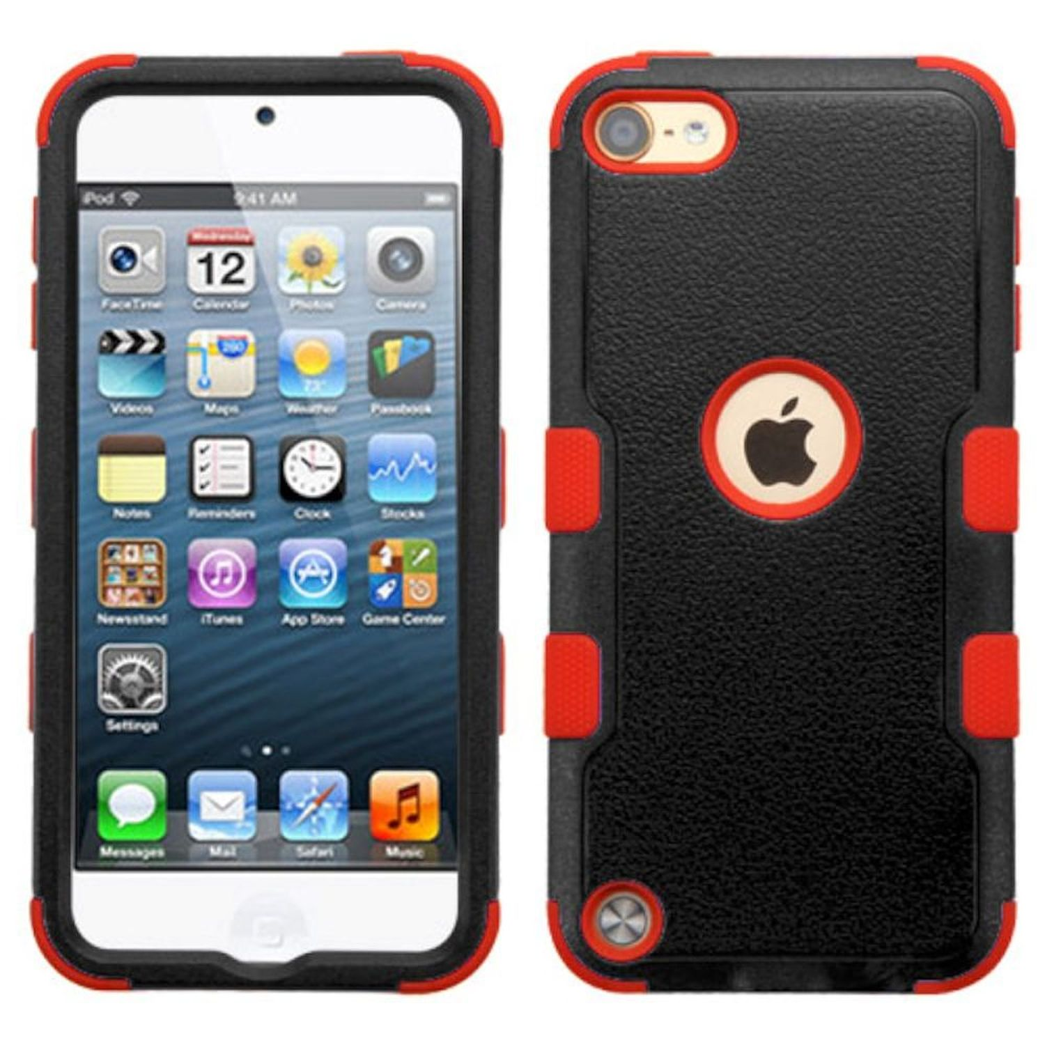 Insten Tuff Hard Dual Layer Rubber Silicone Case For Apple iPod Touch 5th Gen/6th Gen - Black/Red