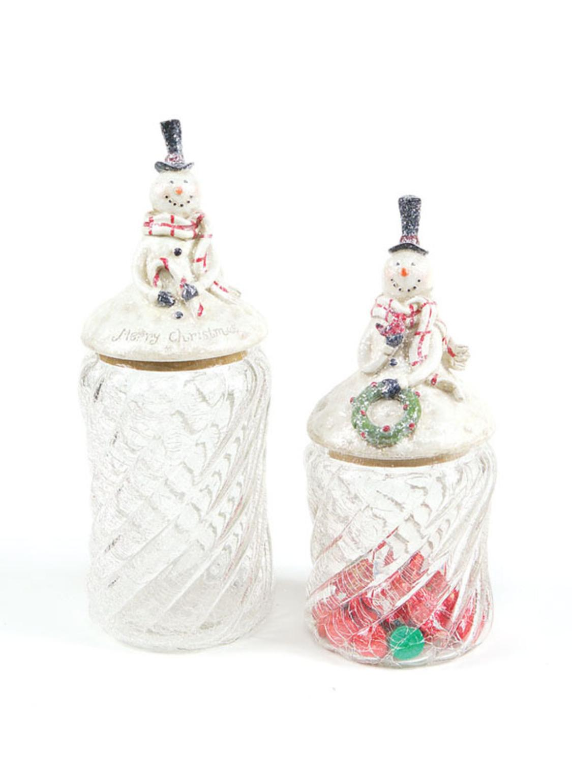 Pack of 4 Eco Country Decorative Christmas Snowman Glass Kitchen Canisters