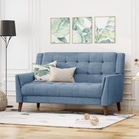 """54"""" Blue and Brown Contemporary Rectangular Loveseat"""