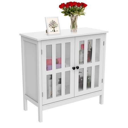 Buffet Storage Cabinet with Glass Door Console Table White ()