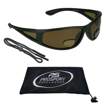 Brown Gray Lens Sunglasses (proSPORT Fishing Polarized Bifocal Sunglasses Side Shield Window Fisherman Eyewear Mens, Grey or Brown lens. Larger Fit. Free Strap)