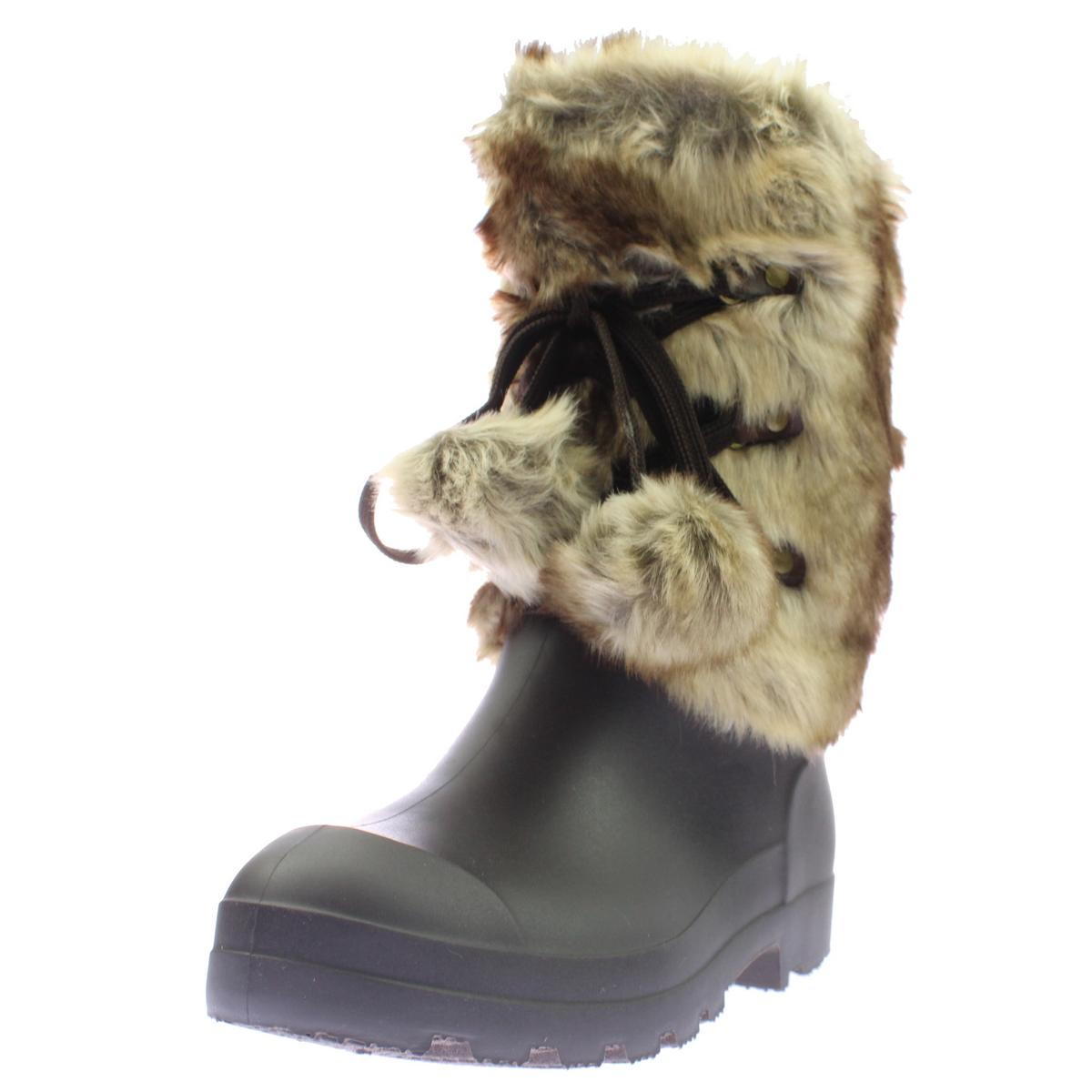 Dirty Laundry Womens Picca Faux Fur Mini Wedge Rain Boots