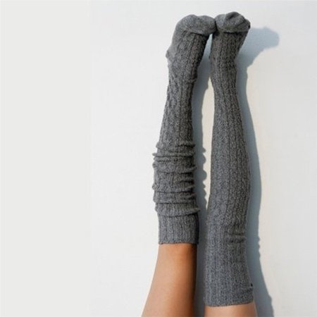 Sexy Women Warm Knit Over Knee Thigh High Stockings Knitted Tights Long Socks Gray