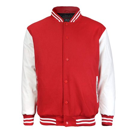 Maximos Mens Varsity Baseball Letterman Vintage Button Down Jacket Red White