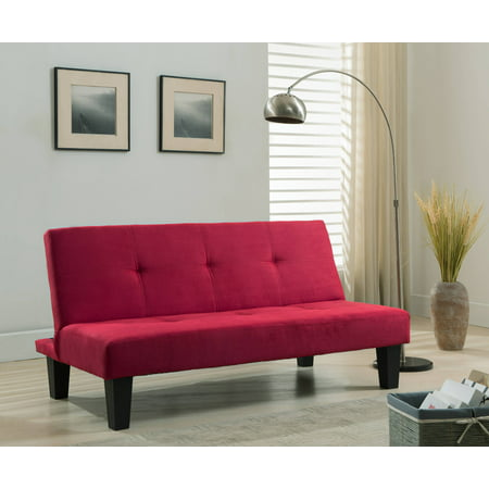 Red Microfiber Fabric Klick Klack Sofa Futon Sleeper Bed
