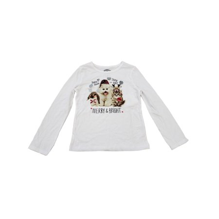 Girls White Cat Dog Kitten Puppy Holiday Merry Christmas Tee Shirt Top T-Shirt ()