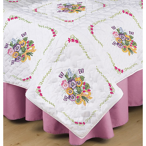 "Stamped White Quilt Blocks, 18"" x 18"", 6pk, Pansies"