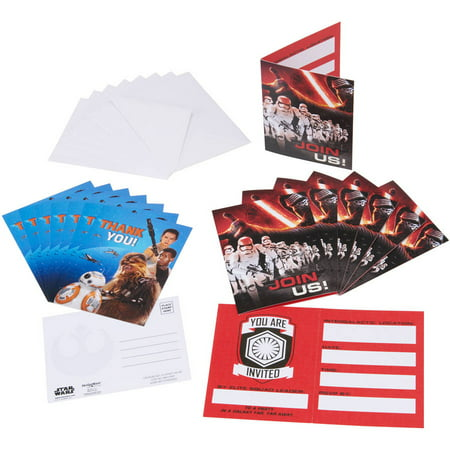 Star Wars Episode VII Invite and Thank-You Combo Pack, 8 Count, Party Supplies