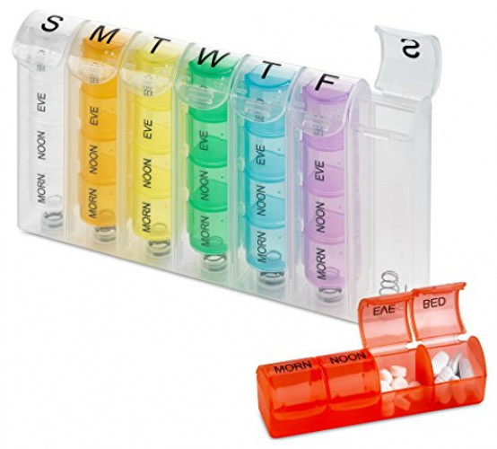 MEDca Pop-Up Weekly Pill Organizer, Single Box and 4 Daily Compartments