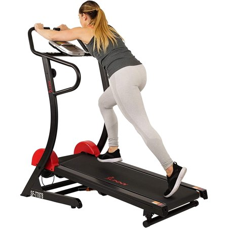 Sunny Health & Fitness Manual Treadmill with 16 Levels of Magnetic Resistance, 300 LB Max Weight and Dual Flywheels - Adjustable Incline