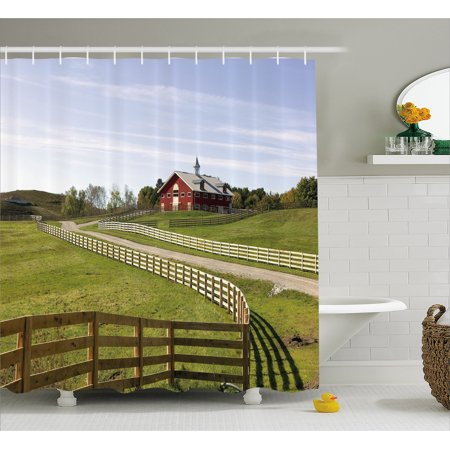 Farm House Decor Shower Curtain, Long Photo of Flowing Fence of Country House in Rural Grassland Ranch Pastoral, Fabric Bathroom Set with Hooks, 69W X 70L Inches, Multi, by Ambesonne ()