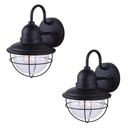 Outdoor Sconce Finish - 2 Pack of Exterior Outdoor Cage Light Vintage Bulb Fixture Sconce, Black Finish