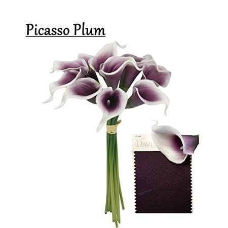 10pc set Real Touch calla lily-keepsake artificial flower perfect for cut to make boutonniere corsage bouquets (Picasso (Fresh Cut Red Flower Bouquet)