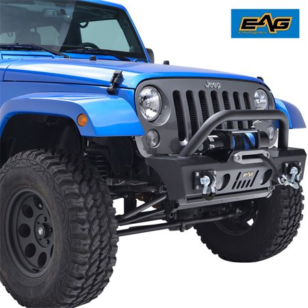 06 Jeep Wrangler Front Bumper (EAG Front Bumper Stubby with Fog Light Hole and Winch Plate - fits 07-18 Jeep Wrangler)