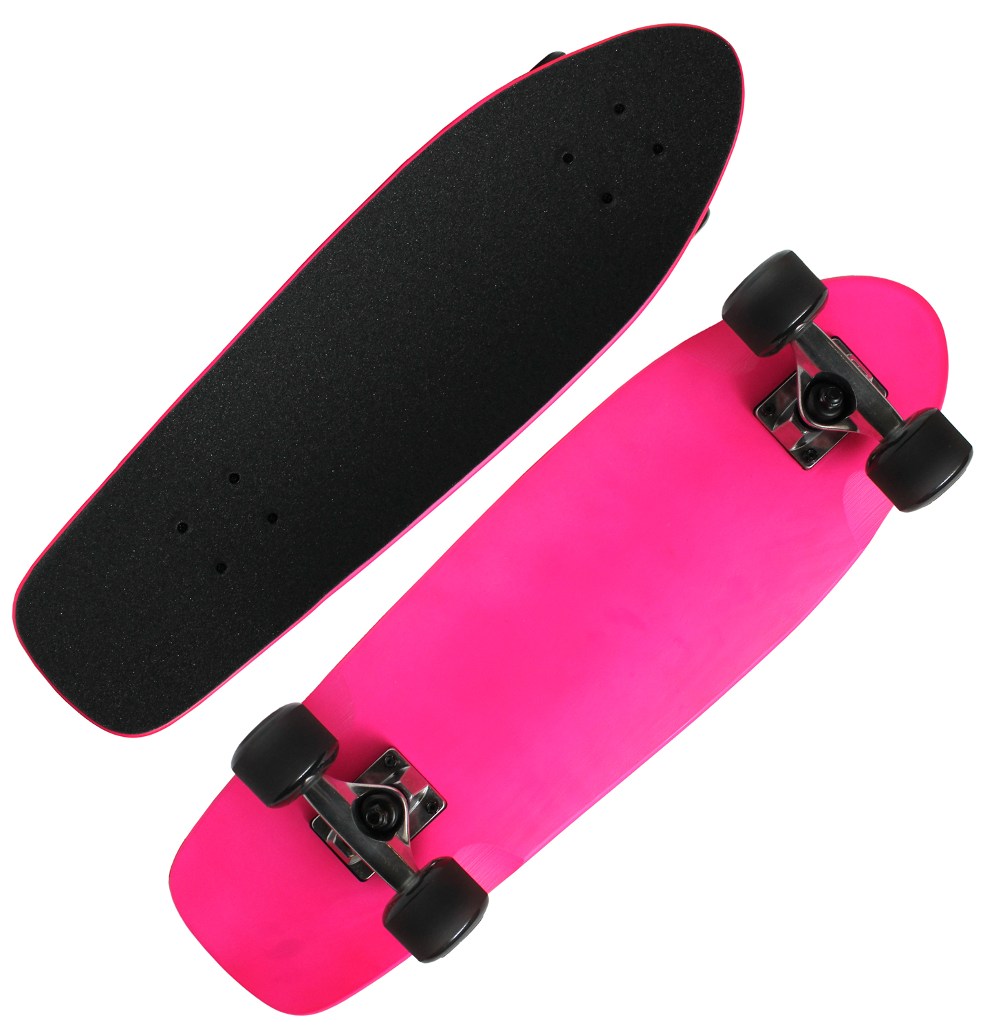 NEON PINK BEACH CRUISER SKATEBOARD COMPLETE Kicktail Mini Shape MAPLE 8 x 26.5