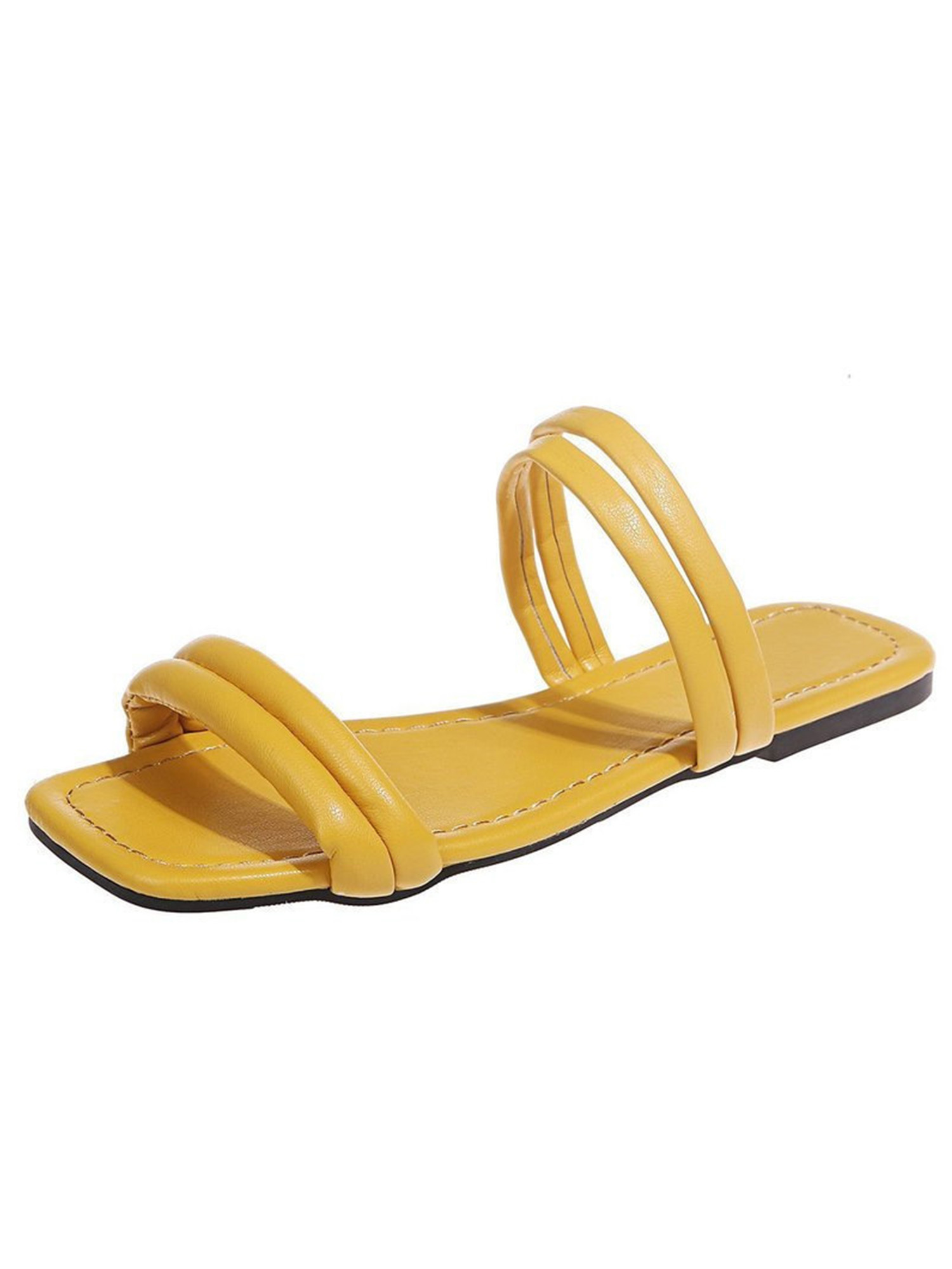 CALEB-10 New Flats Sandals Buckle Gladiator Party Beach Women Shoes Yellow 6