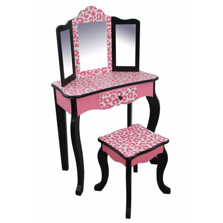 Teamson Kids Leopard Prints Gisele Vanity Table & Stool, Multiple Finishes ()