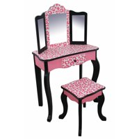 Product Image Teamson Kids Fashion Leopard Prints Gisele Vanity Table Stool Set Pink Black