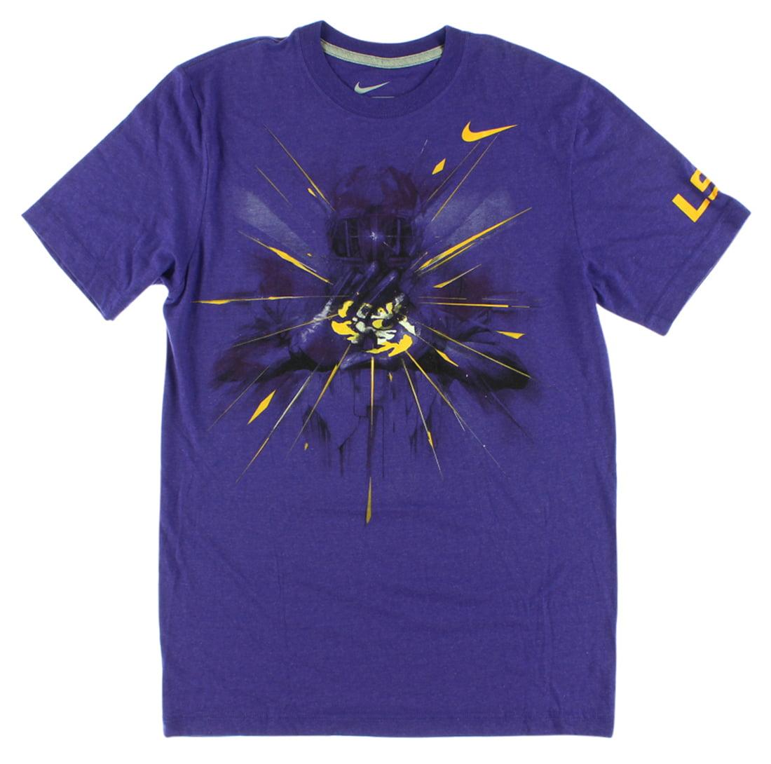 Nike Mens LSU Tigers College Gloves Tri Blend T Shirt Purple