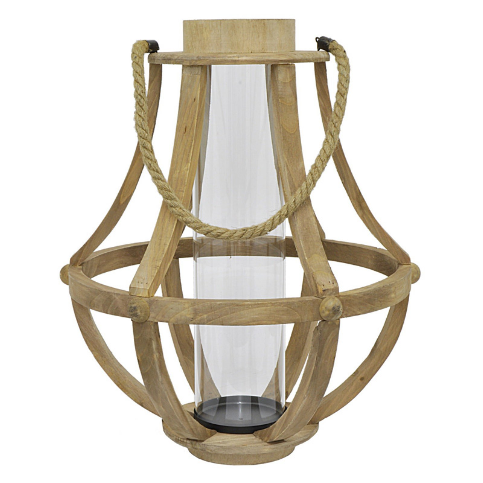 Three Hands Wood and Glass Lantern