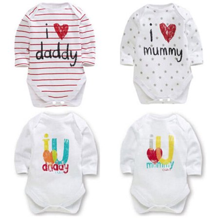 Newborn Baby Boys Girls Pure Cotton Long Sleeve Romper I Love Mommy Daddy Stripped Bodysuit Jumpsuit Kids (Baby Girl Poems From Mommy And Daddy)