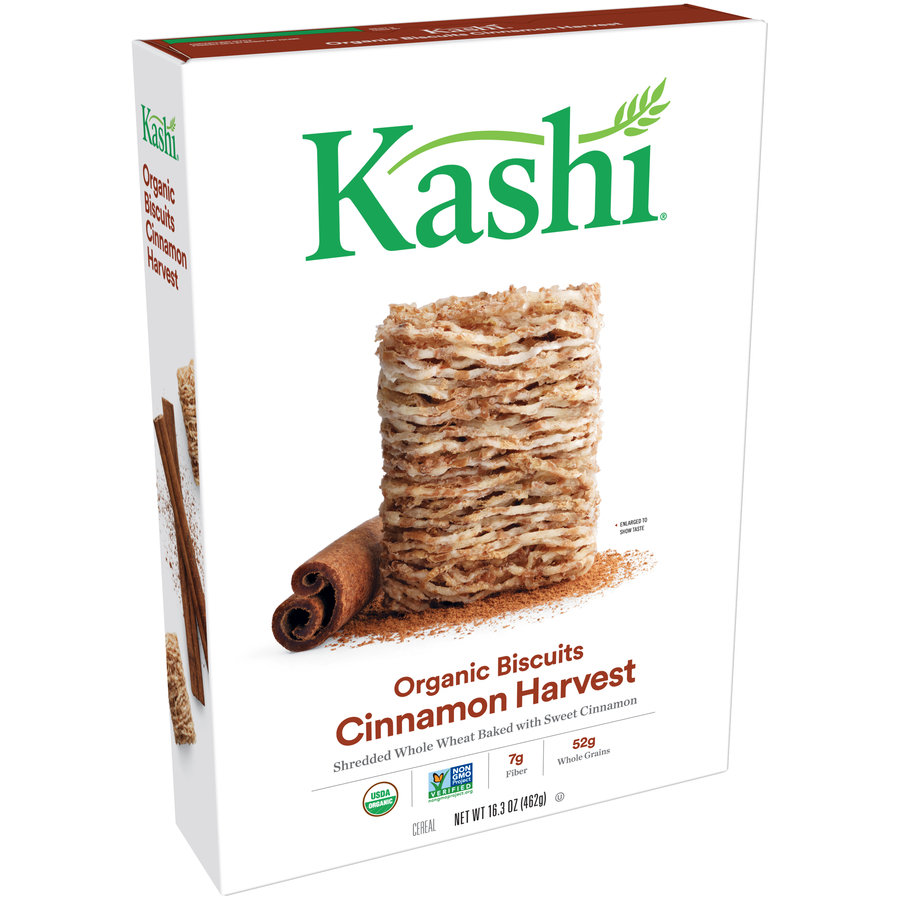 Kashi Organic Biscuits Breakfast Cereal, Cinnamon Harvest, 16.3 Oz