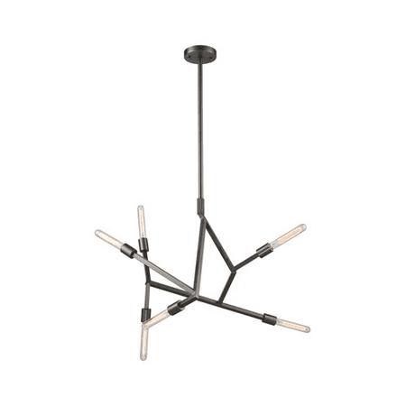 - Chandeliers 6 Light With Aged Black Nickel Finish Medium Base 28 inch 360 Watts - World of Lamp