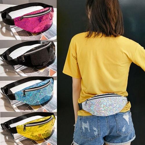 Multicolor Women Travel Waist Fanny Pack Money Belt Wallet Glitter Bum Bag Pouch