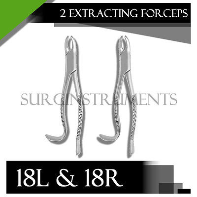 Extracting Forceps Set Of 2 - 18L & 18R - Surgical Dental Instruments