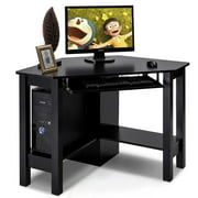 Costway Wooden Corner Desk With Drawer Computer PC Table Study Office Room Black