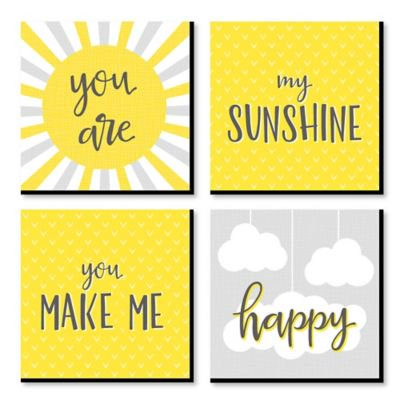 Sun Decor - You are My Sunshine - Kids Room, Nursery Decor and Home Decor - 11 x 11 inches Kids Wall Art - Set of 4 Prints