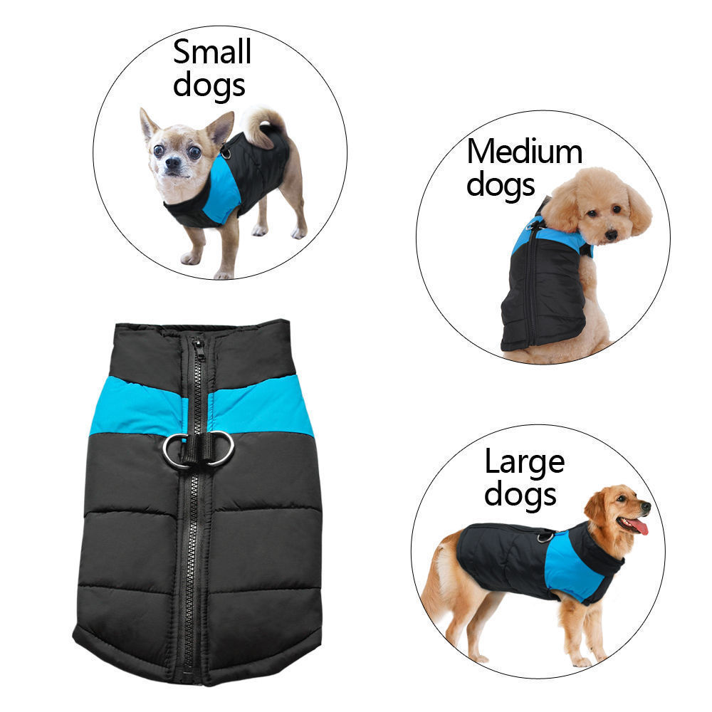 Blue Cold Weather Dog Warm Vest Jacket Coat, Pet Winter Clothes Gits for Small / Medium / Large Dogs, Waterproof Warm Pet Coats for Winter, S