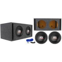 """2) MTX Terminator TN12-04 12"""" 800w Car Audio Subwoofers+Vented Sub Box Enclosure"""