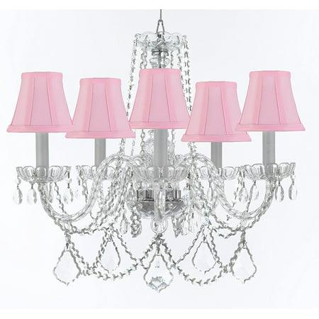 Swarovski TM Crystal Chandelier With Pink Shades - Walmart.com