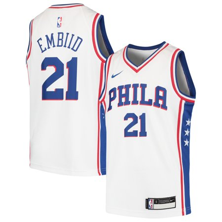low priced 32ae7 6361d Joel Embiid Philadelphia 76ers Nike Youth Swingman Jersey - White
