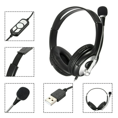 - PLUG & PLAY USB Stereo Super Bass ClearChat Headset with Noise Cancelling Microphone for PC Laptop
