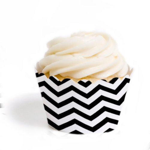 Dress My Cupcake Standard Cupcake Wrappers, Chevron, Black, Set of 12