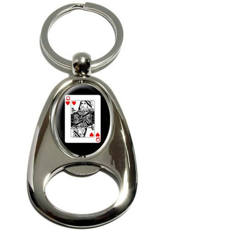 Playing Cards Queen of Hearts, Poker, Chrome Plated Metal Spinning Oval Design Bottle Opener Keychain Key Ring](Queen Of Hearts Card)