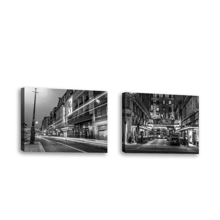 Set of 2 - Black and white shot of London city street - Contemporary Fine  Art Giclee on Canvas Gallery Wrap - wall décor - Art painting - 18 x 14