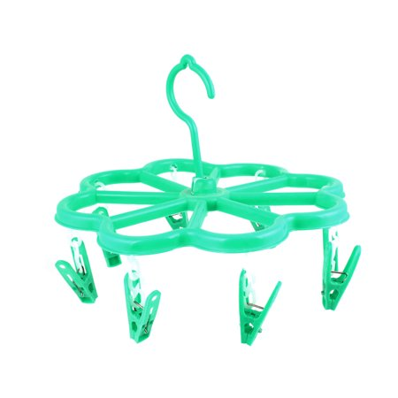 Home Green Plastic Scarf Towel Clothes Drying Rack Clotheshorse Hanger 8 Pegs Clip Number: 8;Total Size(Approx.) : 23 x 18cm/ 9  x 7 (D*H)Clip Size(Each) : 5.3 x 2.8cm/ 2  x 1 (L*W);Fit Rod Max. Dia: 35mm/ 1.4 Main Color: Green;Weight: 70gPackage Content: 1 xClotheshorse Hanger